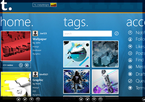 Work commissioned from UICentric UK ( http://www.uicentric.com/ ), to create a new Windows 8 Mobile app for Tumbler